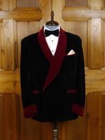 индивидуальные смокинги оптовых-Tailored Velvet Men Suit Smoking Jacket Slim Fit Tuxedo Custom Groom Prom Terno Masculino Blazer Wedding Suits Ternos 2 Pieces