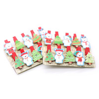 Wholesale hand binder for sale - Group buy 10pcs Christmas Bear Photo Paper Wooden Pegs Hand Painted Wooden Binder Clips for Christmas Party Decor Tree Ornament