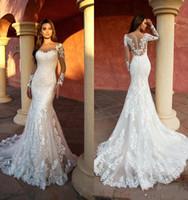 Wholesale sheer lace bodice wedding dress resale online - Vintage New Arrival Mermaid Wedding Dresses Sheer Neck Long Sleeve Appliqued Lace Bridal Gowns Illusion Wedding Dress robe de mariee