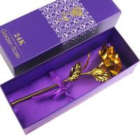 ev için dekoratif bitkiler toptan satış-Ev Dekoratif Çiçek Yapay Sevgililer Günü Hediye Sarf Malzemesi Doğum Düğün 24k Altın Sahte Çiçekler Bitkiler