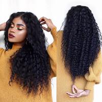 ingrosso parrucca piena di curl kinky-Capelli vergini malesi Glueless Parrucca piena del merletto dei capelli umani Ricci crespi Capelli vergini Parrucche anteriori in pizzo Ricci crespi Per le donne nere