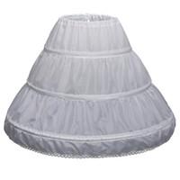 çiçek kız elbise çemberleri toptan satış-Çocuk 3 Çemberler Petticoats Düğün Gelin Aksesuarları Yarım Kayma Küçük Kızlar Kabarık Etek Beyaz Uzun Çiçek Kız Resmi Elbise Jüpon