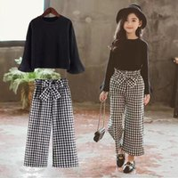 Wholesale girl t shirt 12 year resale online - 2020 Kids Girls Clothes Sets Long Sleeve T shirts Plaid Wide Leg Pants Autumn Children s Clothing Teenage for Years