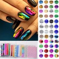 набор для декорирования ногтей оптовых-50sheets 25cm*4.5cm Mix Color Transfer Foil Nail Art Sticker Decals For Polish DIY Nail Foil Set Starry Paper Deco