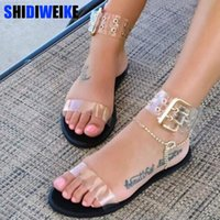 kadınlar için açık ayak parmağı sandalet toptan satış-Yeni kadın sandalet şeffaf düz yaz gladyatör burnu açık temizle jöle ayakkabı bayanlar roma plaj sandalet