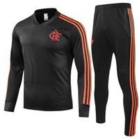 ingrosso vestiti rossi dell'uomo nero-2019 Flamengo Soccer Sweatershirt Pantaloni lunghi CRF Red Football Tuta 18 19 Flamengo RJ Training Top uomini Black V Collar Sports Suit