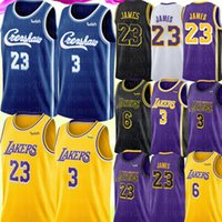 camisas amarelas pretas venda por atacado-6 LeBron 23 James Jersey NCAA 3 Anthony Davis Jersey Crenshaw Blue Mens University Basketball Jerseys Amarelo Roxo Preto Branco