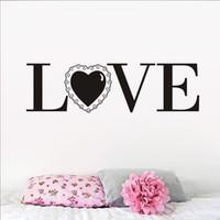 ingrosso decorazione domestica degli adesivi della parete della camera da letto-1 Pz Adesivi murali Pvc Home Decor Amore con un pizzo Lettere romantiche Impermeabile Vinyl Wall Art Citazioni Decalcomania per camera da letto Camera da letto
