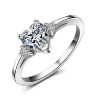 Wholesale solitaire rings online - designer jewelry heart shape rings wedding rings silver plated heart zirocn solitaire rings for women hot fashion