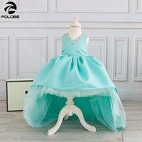 цветок девушка платья мята оптовых-Милый мятный высокий низкий цветок девушка платье для свадьбы с длинным поездом кристаллы бальное платье дети день рождения наряды детские платья