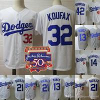 bob creme venda por atacado-Camisolas Mens Dodgers 1958 Sandy Koufax Jackie Robinson 50º Enrique Hernandez Max Muncy Walker Buehler Camisolas de Basebol de Los Angeles