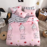 Wholesale queen hearts bedding king resale online - Heart Printing Bedding Set Bed Linens Home Textile Duvet Cover Set Classic Bedclothes Modern Sheet Pillowcase King Bedset