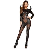 Wholesale catsuit role play for sale - Group buy PU leather catsuit custumes Halloween female vampire cosplay black catsuit tight sexy body suit devil role playing garment