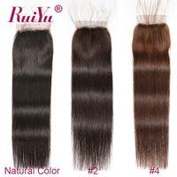 açık kahverengi bakire saç toptan satış-Koyu Kahverengi Açık Kahverengi Renk Düz Ücretsiz Bölüm Kapatma Brezilyalı Virgin İnsan Saç 4x4 Dantel Kapaklar 2. 4. Üst Kapaklar Malezyalı Remy saç