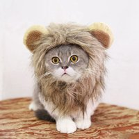 Wholesale black cat ears cosplay resale online - Halloween Funny Pet Costume Cosplay Lion Mane Wig Cap Hat for Cat Xmas Clothes Fancy Dress with Ears Pet Dog Cats Product