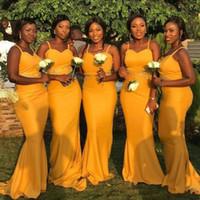 vestidos de casamento amarelos mais tamanho venda por atacado-Sereia amarela Vestidos de Dama de Honra Longas Cintas de Espaguete Apliques de Cetim Vestidos de Dama de Honra Africano Plus Size Wedding Party Dress