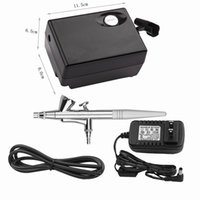 ingrosso kit di compressore airbrush-New Black Beauty Special Mini Air Brush Compressor Azione singola Trigger Airbrush Kit 0.4mm Ago Art Paint Trucco Tattoo Cake Decorating
