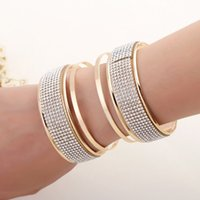 Wholesale bracelet forms for sale - Group buy 2019 New cuff arc form three dimensional exaggerated punk Shiny plated rhinestones bracelet jewelry products sell like hot cakes