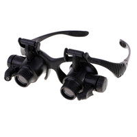 lentes de aumento de luz led al por mayor-4 ampliaciones 10 (X) 15 (X) 20 (X) 25 (X) Lupa Lupa Gafas Lupa Joyero Reloj Herramienta de reparación de joyas con luz LED