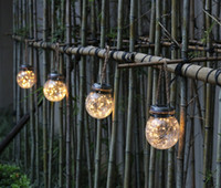 Wholesale outdoor patio lights resale online - Hanging Solar Lights White LED Solar Crackle Globe Hanging Lights Waterproof Outdoor Solar Lanterns with Handle for Garden Yard Patio L
