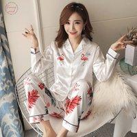 ingrosso pigiama di autunno-Lungo Inverno Donne New Autunno pigiama di seta lunghe cime impost Femminile Pajamas Set Nightsuit Sleepwear Imposta Pant Women Notte