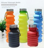 botella de viaje doble al por mayor-Botella de 550 ml de agua plegable de silicona FDA portátil plegable botella retráctil café Agua que va de excursión la botella de bebida de café Copas AN3218
