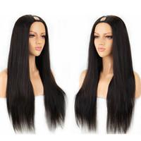 remy haare 14 großhandel-Menschliches Haar U Teil Perücken Seidige Gerade Peruanische Remy Perücke 100% Mittelteil Mit Natürlicher Farbe 130% 150% 180% Dichte