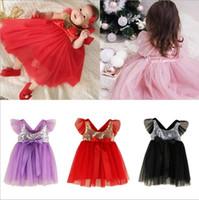 bebek hattı romper elbisesi toptan satış-Çocuklar giysi tasarımcısı bebek kız pullu mesh tutu romper dress bale dans elbiseler bebek yaz kolsuz prenses parti l ...