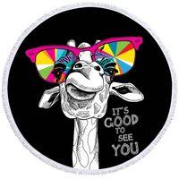 ingrosso borsa a tracolla per occhiali da sole-Giraffa divertenti del tovagliolo di spiaggia del tovagliolo Animali rotonda con coulisse Bag Arcobaleno Occhiali da sole Beach Mat Orangutan Toalla