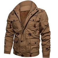 настоящие кожаные футбольные мячи оптовых-2019 мужская куртка парка зимняя флис мульти-карман повседневная стеганая куртка мужчины зимние пальто одежда пузырь пальто
