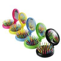 katlanır ayna tarağı toptan satış-Taşınabilir Yuvarlak Pocket Küçük Boy Seyahat Masaj Katlama Tarak Kız Saç Fırçası ile Ayna Şekillendirme Araçları Gökkuşağı 7 Renk