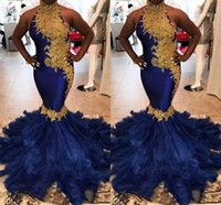 Wholesale couture pageant dresses for sale - Group buy 2019 Couture Royal Blue Feather Mermaid Prom Dresses With Gold Lace Appliques Beaded Women Pageant Formal Party Evening Gowns Dubai Arabic