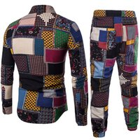 blume männer trainingsanzug großhandel-Herren Trainingsanzüge Revers Shirt + Hose Anzug Bluse große Größe Mode Leinen Freizeithose Set Z312