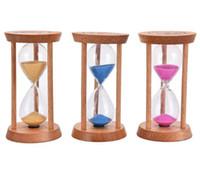 glas sanduhr sand timer großhandel-Mode 3 Minuten Holzrahmen Sanduhr Sand Glas Sanduhr Zeitzähler Countdown Home Küche Timer Uhr Dekoration Geschenk