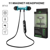 çalışan bluetooth kulaklık toptan satış-XT11 Bluetooth Kulaklık Manyetik Kablosuz Koşu Spor Kulaklık Kulaklık BT 4.2 Akıllı Telefonlar Için Mic Kulaklık ile