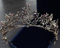 ingrosso ornamento di perline-Vintage Barocco Coreano Corona nuziale e Diademi in rilievo Ragazze Donne Proms Sera Brithday Dress Crowns Wedding Ornamenti in cristallo Copricapo