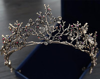 Wholesale red fairy hair online - Vintage Baroque Korean Bridal Crown And Tiaras Beaded Girls Women Proms Evening Brithday Dress Crowns Wedding Crystal Ornaments Headpieces