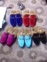 Wholesale navy rabbit fur resale online - Fur slippers luxury laofers womens slides with rabbit fur real leather shoes fur shoes v030