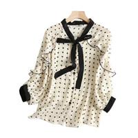 blouse blanche à ressort achat en gros de-Printemps À Manches Longues Grande Taille Blouses Blanc Point Chemises Pour Les Femmes À Volants En Mousseline De Soie Femmes 2019 Mode De Haute Qualité Top