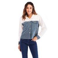 calções de patchwork de veludo venda por atacado-Patchwork cardigan das mulheres curto de manga longa jaqueta de veludo ocasional splice outwear casaco feminino estudante jaqueta curta