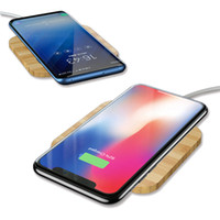 cargador de madera al por mayor-Cargador inalámbrico Qi portátil de madera delgado para iPhone X / XS Max XR Pad de carga inalámbrica para Xiaomi 9 Samsung S8 S9 Note 9 Cargador de teléfono celular