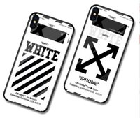 funda para gafas iphone al por mayor-Estuche para iPhone X XS 7 8 Plus 6s OFF en blanco Luxury TPU + Glass Arrow Pattern Stripes Estuche para iPhone 6 7 plus cubierta