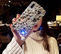 cas de gland achat en gros de-Strass cas pour iphone x couverture avec glands luxe main Bling diamant cristal cas de téléphone pour iphone 8 7 6 6 s plus