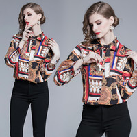 коричневые блузки для женщин оптовых-2019 Runway Office Autumn Brown Blouse Shirt Women Long Sleeve Bow Collar Female Ladies Party  Chiffon Blouse Tops Clothes