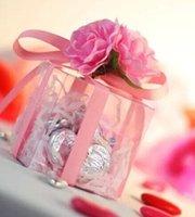 tamaños de carcasa de pvc al por mayor-Alto PVC claro cajas del favor de la fiesta de cumpleaños boda caramelo Cake Box Macaron Engage 3 flores de la cinta cuadrado de la caja del regalo de la decoración festiva 2 tamaños