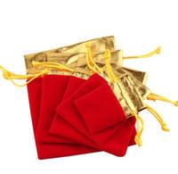 koşu poşetleri çantaları ücretsiz gönderim toptan satış-Kadife Çanta Torbalar İpli Takı Ambalaj Torbaları Noel / Şeker / Düğün Hediye Çanta kırmızı / altın ücretsiz kargo