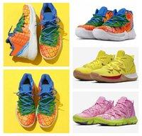 sünger file toptan satış-20. Yıldönümü Irving 5s Ananas Ev Graffiti için 2020 Kyrie Erkek Televizyon PE Basketbol Ayakkabı 5 Squidward Sünger Spor Sneakers 7-12 x