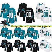 Wholesale 48 sharks jersey resale online - San Jose Sharks jerseys COUTURE JONES MEIER HERTL THORNTON VLASIC custom any number any name hockey jersey