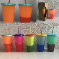 ingrosso tazze di plastica arancione-Bicchieri monostrato Tazze magiche in plastica cambia colore Bicchiere Bicchiere Forma con verde Rosso Arancione Giallo Colori 12yj j1