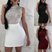 xl bodycon bandaj elbisesi toptan satış-Seksi Kadınlar Bayanlar Bandaj Bodycon Kolsuz Elbise Akşam Parti Kıyafeti Kulübü Yaz Kısa Ince Mini Elbise
